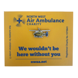 Image of blue and yellow NWAA helicopter pin badge.