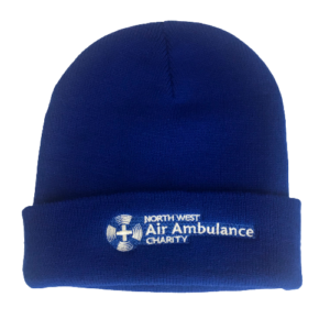 Image of blue beanie hat with white NWAA logo.
