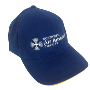 Image of blue baseball style cap with white NWAA logo on the front and yellow trim.