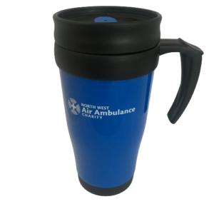 Image of blue and black thermal travel mug with white NWAA logo.