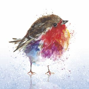 A colourful illustration of a robin on ice