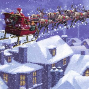 Santa and his sleigh are flying over snowy houses.