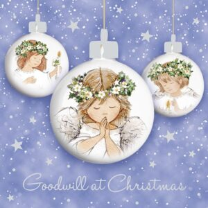 Three angels in baubles with a starry background.