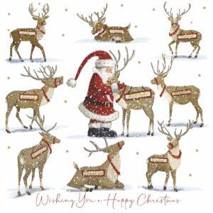 Illustration of Santa feeding his reindeers.