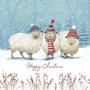 Three illustrated sheep in hats and scarves on a snowy field.